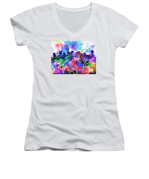 Nashville Skyline Watercolor 5 Women's V-Neck T-Shirt (Junior Cut) by Bekim Art