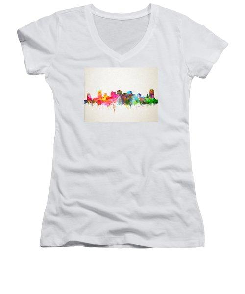 Nashville Skyline Watercolor 9 Women's V-Neck T-Shirt (Junior Cut) by Bekim Art