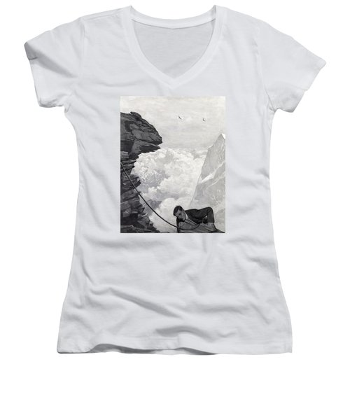 Nearly There Women's V-Neck T-Shirt (Junior Cut) by Arthur Herbert Buckland