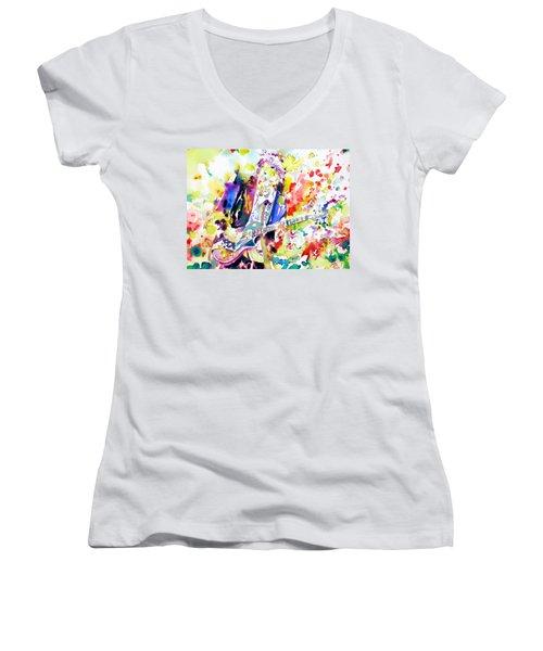 Neil Young Playing The Guitar - Watercolor Portrait.2 Women's V-Neck T-Shirt (Junior Cut) by Fabrizio Cassetta