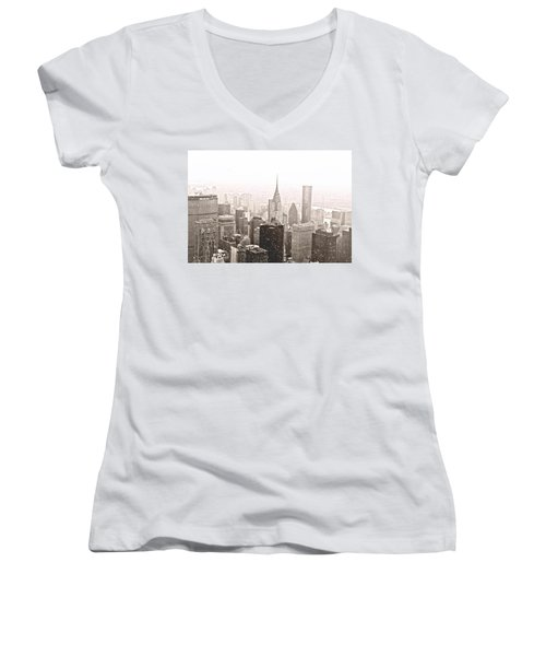 New York Winter - Skyline In The Snow Women's V-Neck T-Shirt (Junior Cut) by Vivienne Gucwa