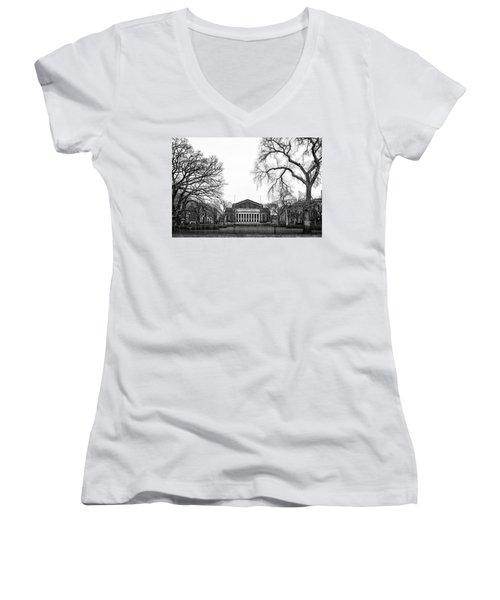 Northrop Auditorium At The University Of Minnesota Women's V-Neck T-Shirt (Junior Cut) by Tom Gort