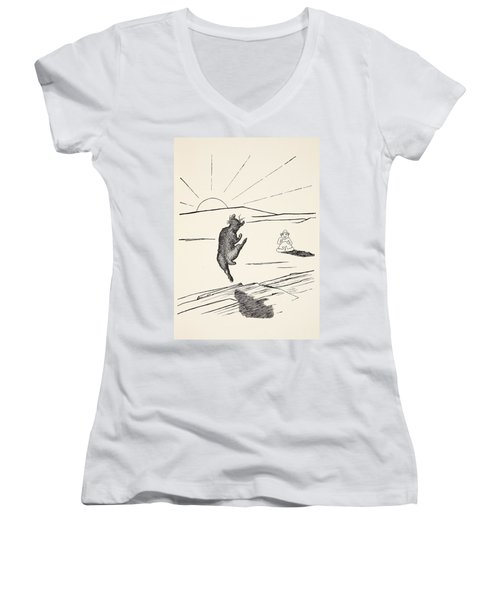 Old Man Kangaroo Women's V-Neck T-Shirt (Junior Cut) by Rudyard Kipling