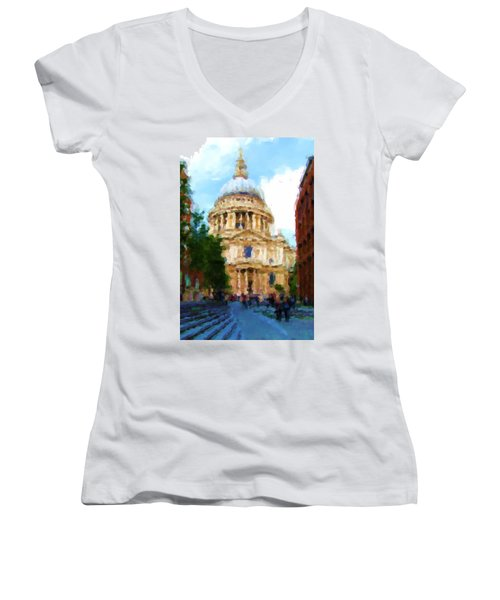 On The Steps Of Saint Pauls Women's V-Neck T-Shirt (Junior Cut) by Jenny Armitage