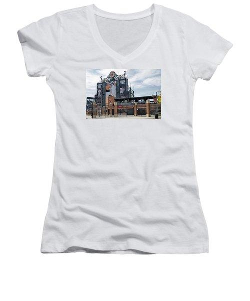 Oriole Park At Camden Yards Women's V-Neck T-Shirt (Junior Cut) by Susan Candelario