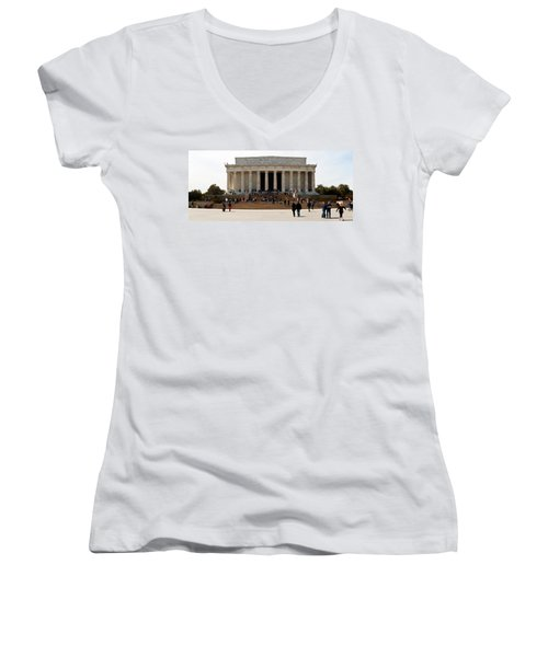 People At Lincoln Memorial, The Mall Women's V-Neck T-Shirt (Junior Cut) by Panoramic Images