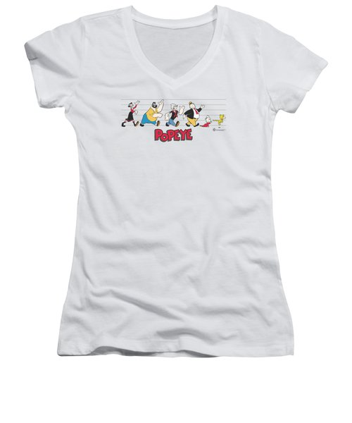 Popeye - The Usual Suspects Women's V-Neck T-Shirt (Junior Cut) by Brand A