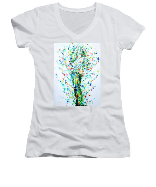 Robert Plant Singing - Watercolor Portrait Women's V-Neck T-Shirt (Junior Cut) by Fabrizio Cassetta