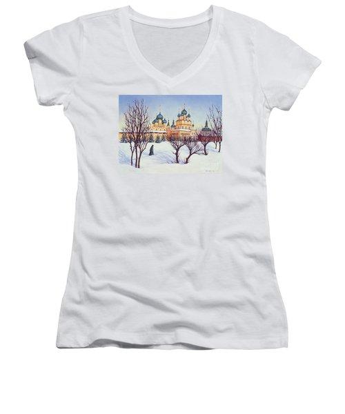 Russian Winter Women's V-Neck T-Shirt (Junior Cut) by Tilly Willis