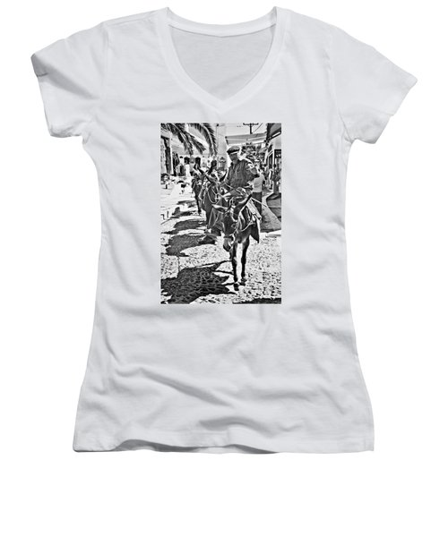 Santorini Donkey Train. Women's V-Neck T-Shirt (Junior Cut) by Meirion Matthias