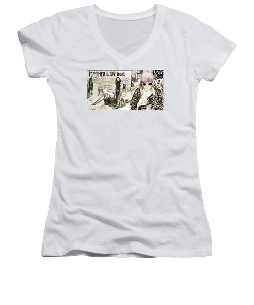 Seattle 1990's Women's V-Neck T-Shirt (Junior Cut) by Joshua Morton