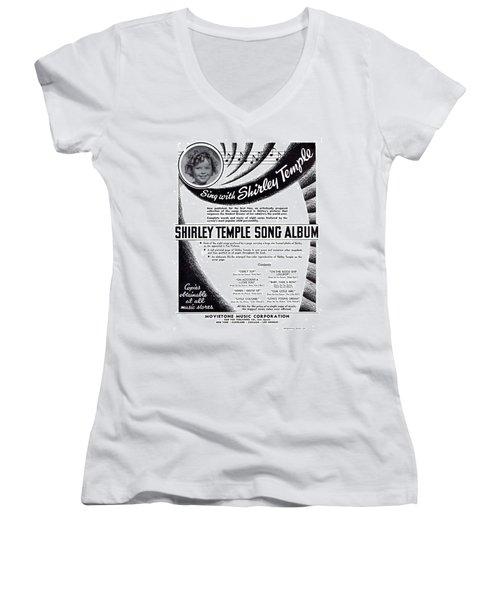 Shirley Temple Song Album Women's V-Neck T-Shirt (Junior Cut) by Mel Thompson