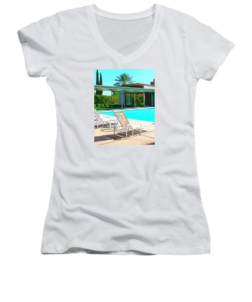 Sinatra Pool Palm Springs Women's V-Neck T-Shirt (Junior Cut) by William Dey