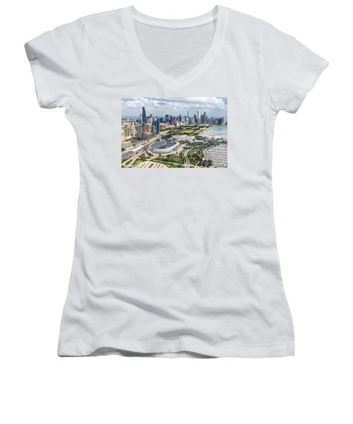 Soldier Field And Chicago Skyline Women's V-Neck T-Shirt (Junior Cut) by Adam Romanowicz