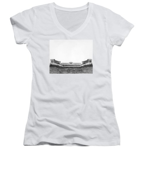 Soldiers' Field And Museum Women's V-Neck T-Shirt (Junior Cut) by Underwood Archives