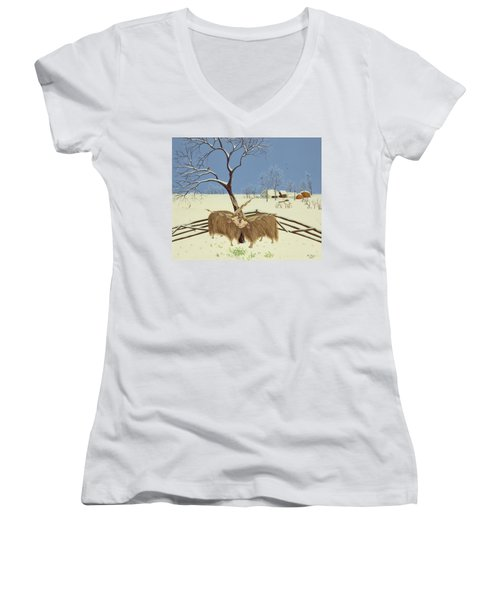 Spring In Winter Women's V-Neck T-Shirt (Junior Cut) by Magdolna Ban