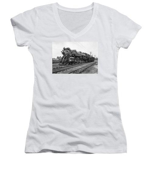 Steam Locomotive Crescent Limited C. 1927 Women's V-Neck T-Shirt (Junior Cut) by Daniel Hagerman