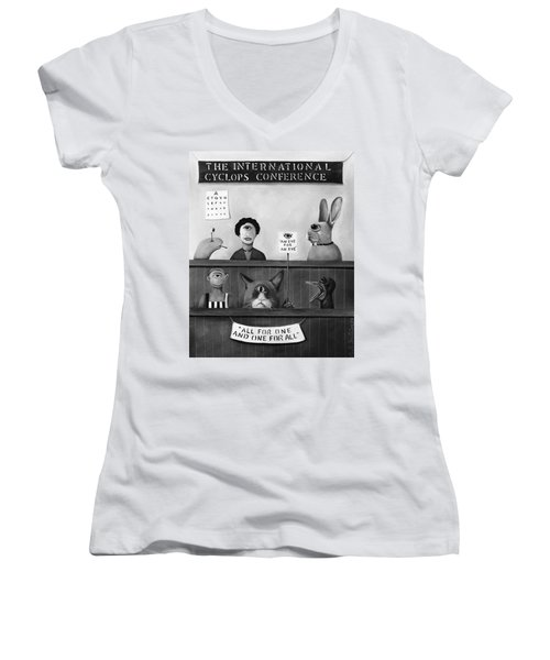 The International Cyclops Conference Edit 4 Women's V-Neck T-Shirt (Junior Cut) by Leah Saulnier The Painting Maniac