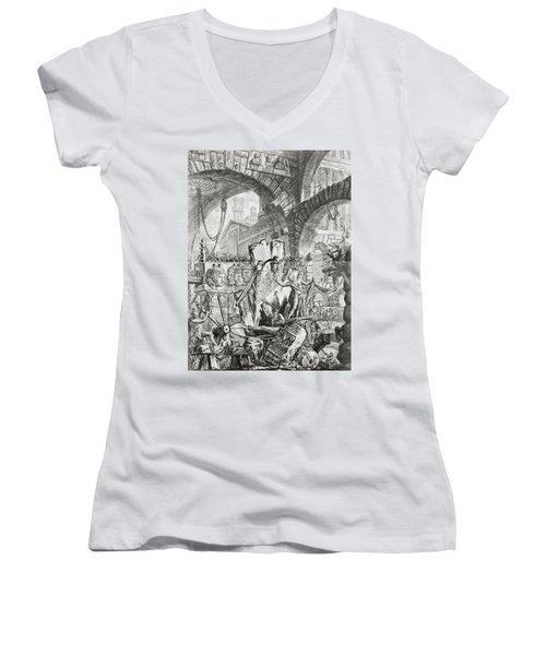 The Man On The Rack Plate II From Carceri D'invenzione Women's V-Neck T-Shirt (Junior Cut) by Giovanni Battista Piranesi