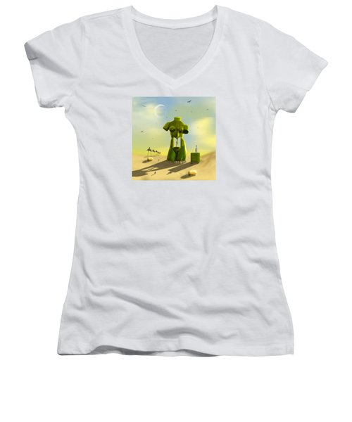 The Nightstand Women's V-Neck T-Shirt (Junior Cut) by Mike McGlothlen