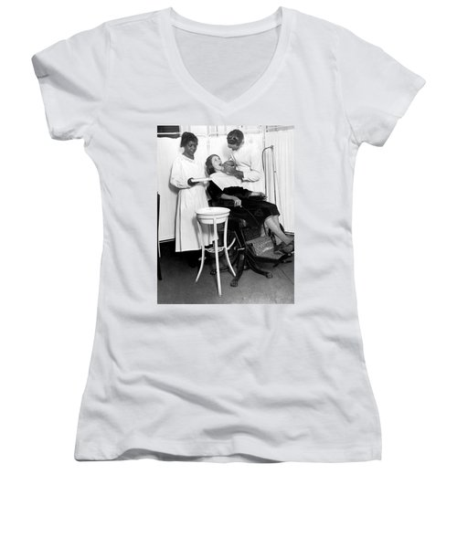 The North Harlem Dental Clinic Women's V-Neck T-Shirt (Junior Cut) by Underwood Archives