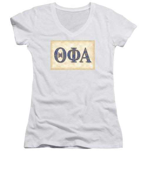 Theta Phi Alpha - Parchment Women's V-Neck T-Shirt (Junior Cut) by Stephen Younts