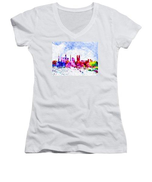 Tokyo Watercolor Women's V-Neck T-Shirt (Junior Cut) by Daniel Janda