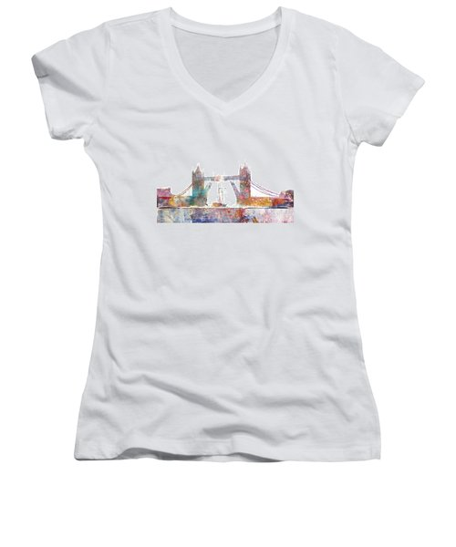 Tower Bridge Colorsplash Women's V-Neck T-Shirt (Junior Cut) by Aimee Stewart
