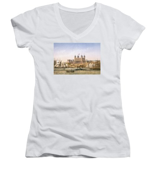 Tower Of London, 1862 Women's V-Neck T-Shirt (Junior Cut) by Achille-Louis Martinet