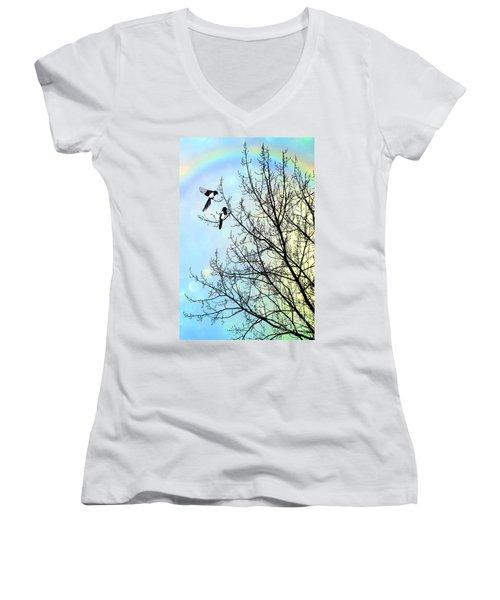 Two For Joy Women's V-Neck T-Shirt (Junior Cut) by John Edwards