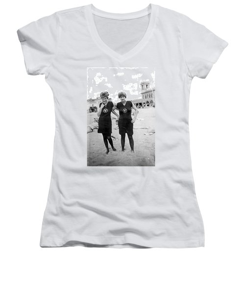 Two Girls At Venice Beach Women's V-Neck T-Shirt (Junior Cut) by Underwood Archives