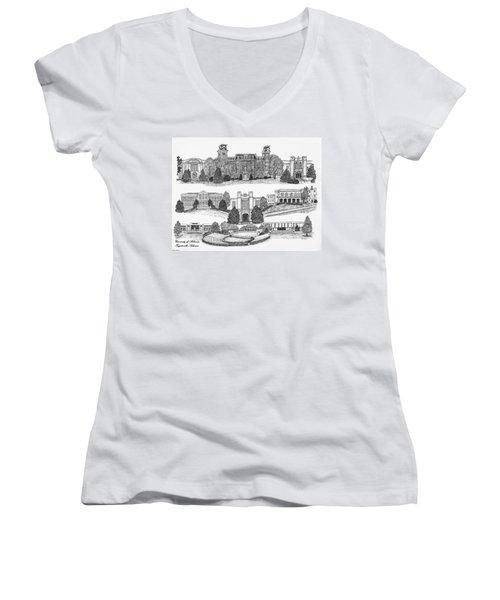 University Of Arkansas Fayetteville Women's V-Neck T-Shirt (Junior Cut) by Liz  Bryant