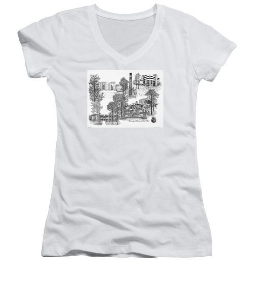 University Of Arkansas Women's V-Neck T-Shirt (Junior Cut) by Liz  Bryant