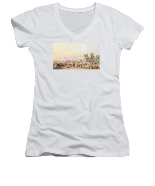 View Of The Crystal Palace Women's V-Neck T-Shirt (Junior Cut) by George Baxter