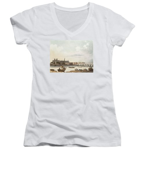 View Of Westminster And The Bridge Wc On Paper Women's V-Neck T-Shirt (Junior Cut) by English School