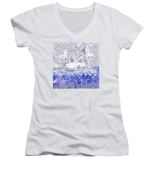 Washington Dc Skyline Abstract 3 Women's V-Neck T-Shirt (Junior Cut) by Bekim Art