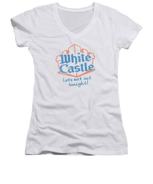 White Castle - Lets Eat Women's V-Neck T-Shirt (Junior Cut) by Brand A