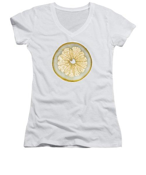 White Grapefruit Slice Women's V-Neck T-Shirt (Junior Cut) by Steve Gadomski