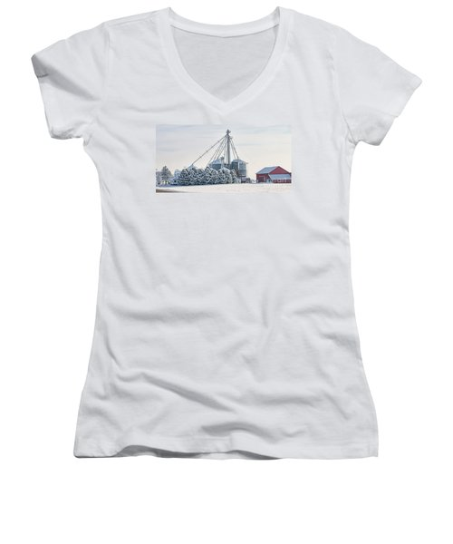 Winter Farm  7365 Women's V-Neck T-Shirt (Junior Cut) by Jack Schultz