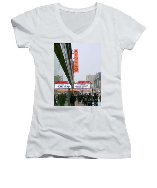 Wintry Day At The Apollo Women's V-Neck T-Shirt (Junior Cut) by Ed Weidman