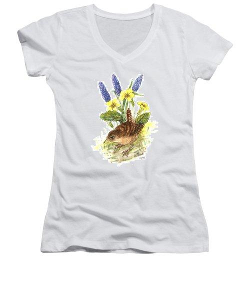 Wren In Primroses  Women's V-Neck T-Shirt (Junior Cut) by Nell Hill