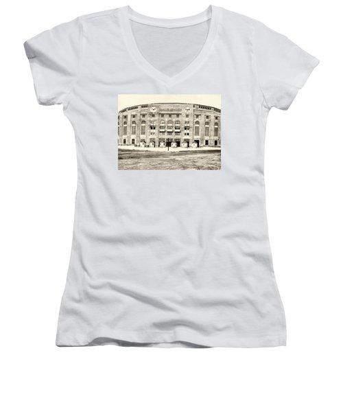 Yankee Stadium Women's V-Neck T-Shirt (Junior Cut) by Bill Cannon
