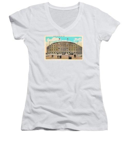 Yankee Stadium Postcard Women's V-Neck T-Shirt (Junior Cut) by Digital Reproductions