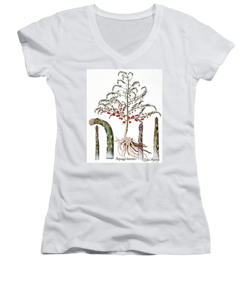Botany: Asparagus, 1613 Women's V-Neck T-Shirt (Junior Cut) by Granger