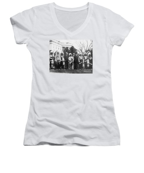 Coolidge With Native Americans Women's V-Neck T-Shirt (Junior Cut) by Photo Researchers