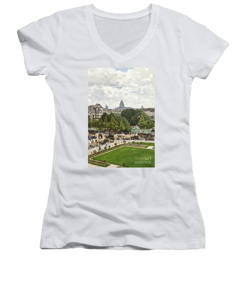 Garden Of The Princess Women's V-Neck T-Shirt (Junior Cut) by Claude Monet