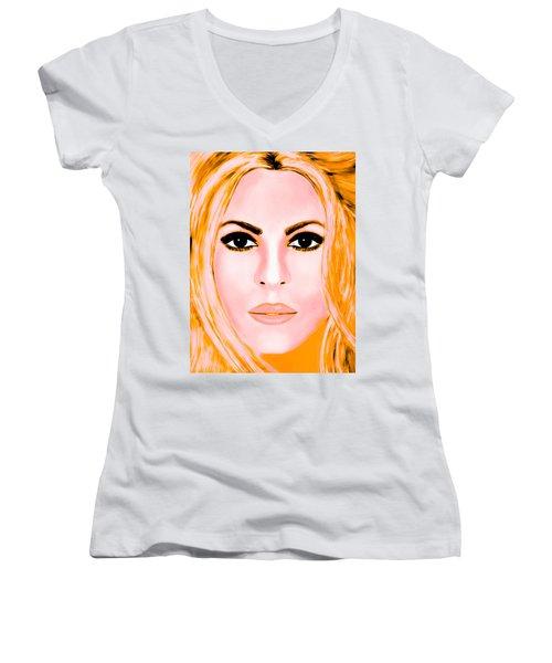 Gold Shakira Women's V-Neck T-Shirt (Junior Cut) by Mathieu Lalonde