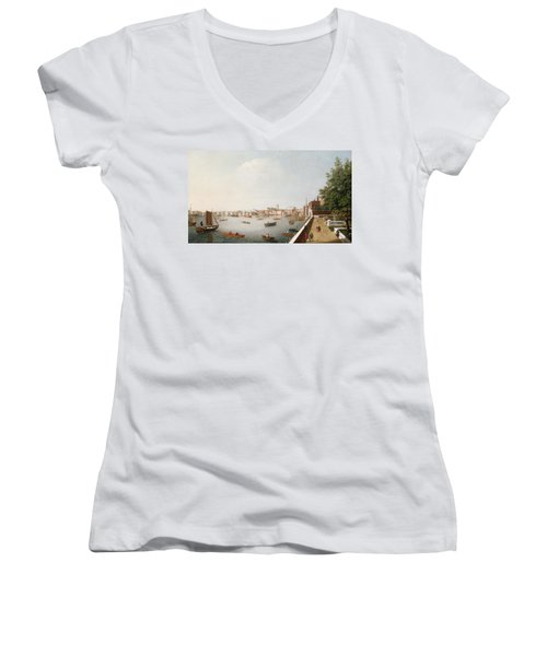 View Of The River Thames From The Adelphi Terrace  Women's V-Neck T-Shirt (Junior Cut) by William James