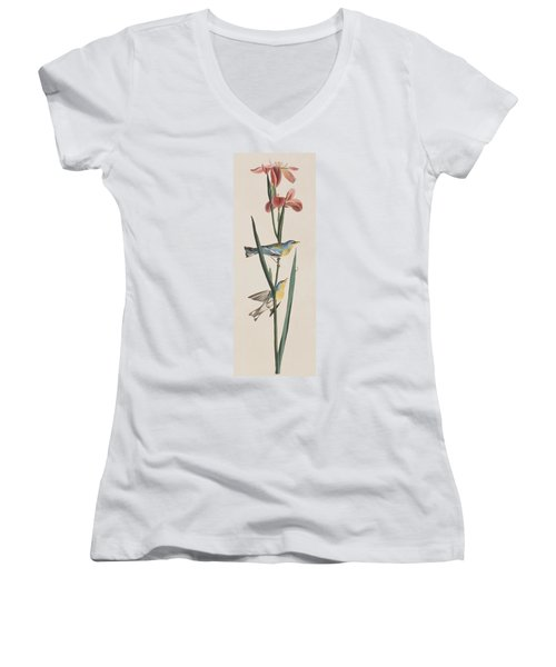 Blue Yellow-backed Warbler Women's V-Neck T-Shirt (Junior Cut) by John James Audubon