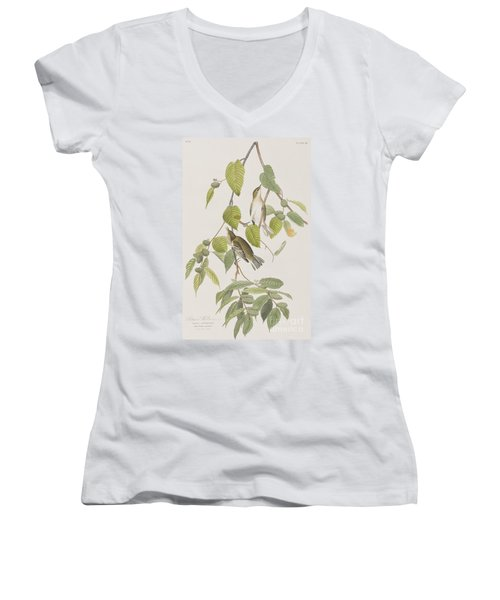 Autumnal Warbler Women's V-Neck T-Shirt (Junior Cut) by John James Audubon